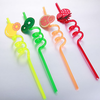 Fruit Decorative PVC/PET Hard Plastic Reusable Crazy Drinking Thick Straw