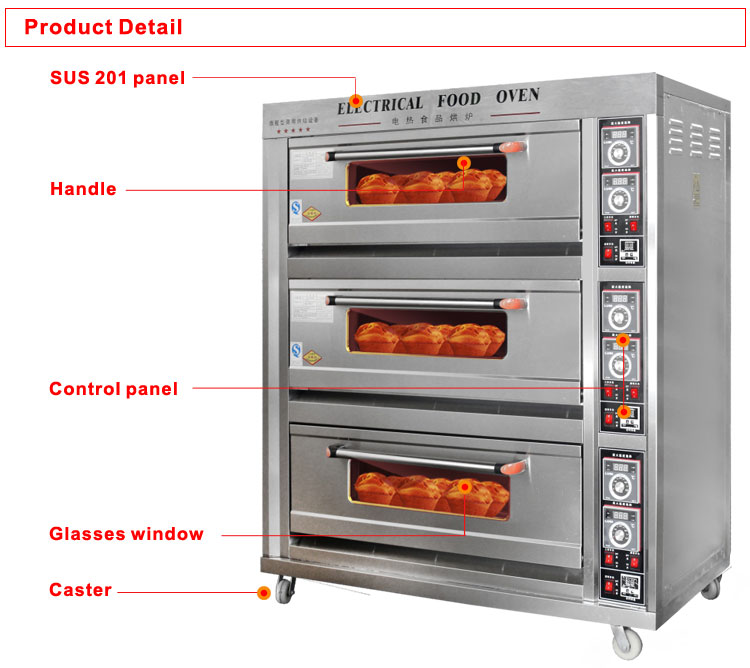 Commercial bakery equipment of electric bread baking oven 3 decks 6 trays cake oven