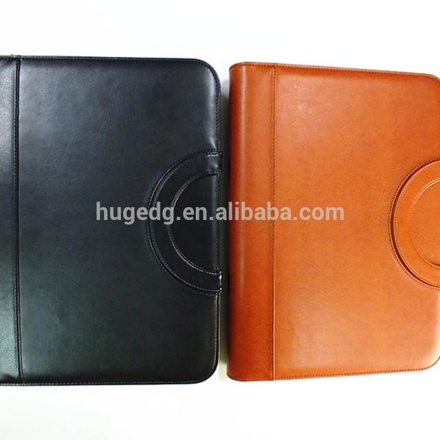 A4 portfolios zippered presentation folder with calculator and hidden handle