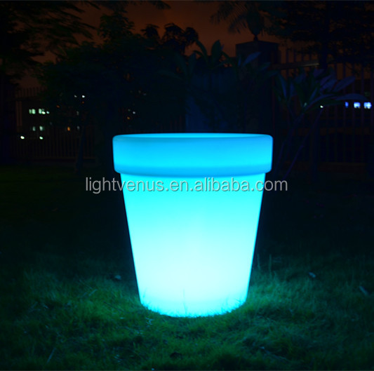 LED colors changed Garden flower Round pot /big vase/LED light lit pot