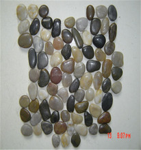 Natural sliced river stone pebble snow white pebble mesh mosaic tile wall decoration material