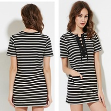 {OEM} 100% Cotton Knitted Summer Short Sleeve Striped Lace-Up Shift Dress 9252