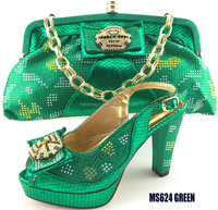 MS624 green African old women high heel wedding shoes and matching bag