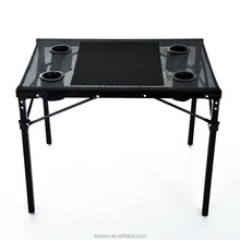 Outsunny Black Folding Camping Table with Cup Holders