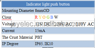 8MM LED MOMENTARY INDICATOR 1N0 1NC PILOT LAMP