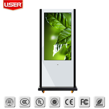 Stock cosmetic outdoor lcd digital signage touch screen interactive kiosk with vga/HD 2/4/6/8 points touch
