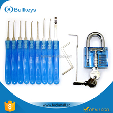Bullkeys Blue Transparent/Clear Cutaway Practice Padlock Lock Training Skill Pick for Locksmith