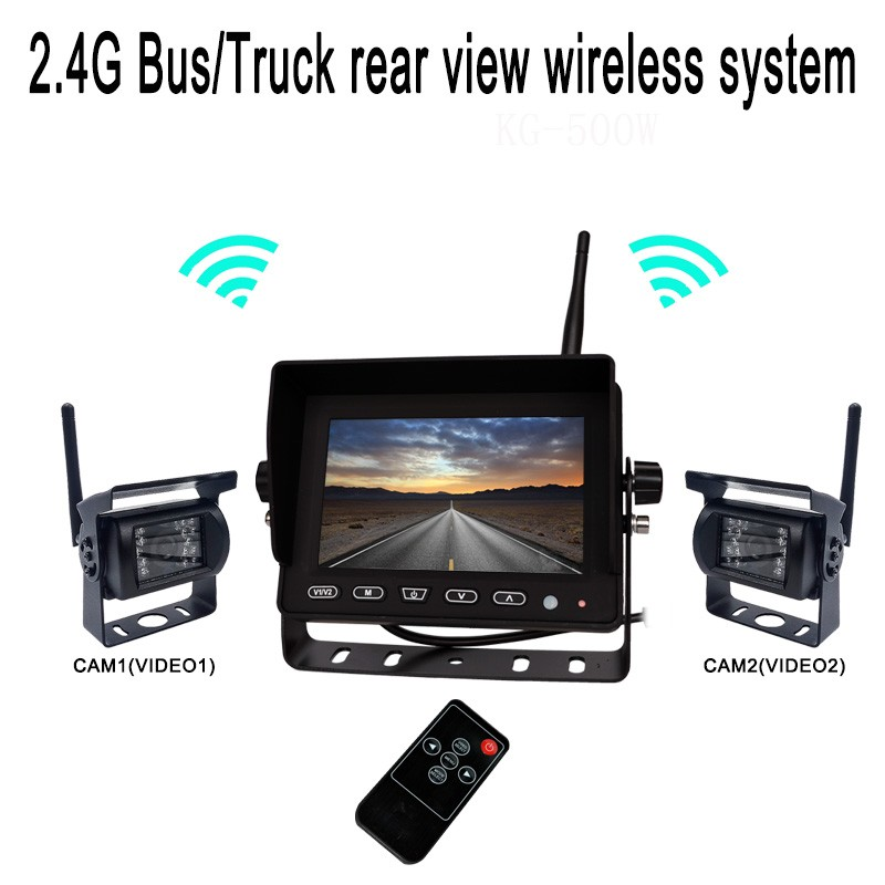 2018 New 7 inch waterproof rear view system quad monitor lcd for truck