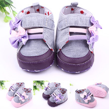 FC7183 korean spring autumn 2016 baby shoes fashion cotton soft sole newborn shoes with flower