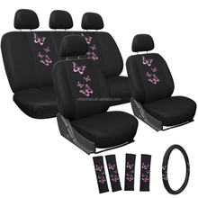 17pc Car Seat Cover Pink Embroidered Butterfly with Steering Wheel Cover and Belt Pads