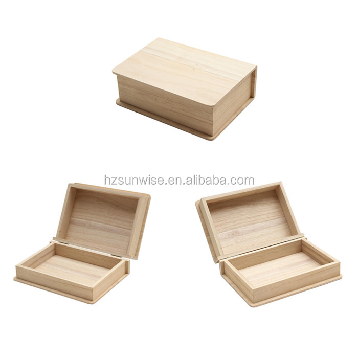 Unfinished wood small square jewelry storage packing gift boxes wholesale