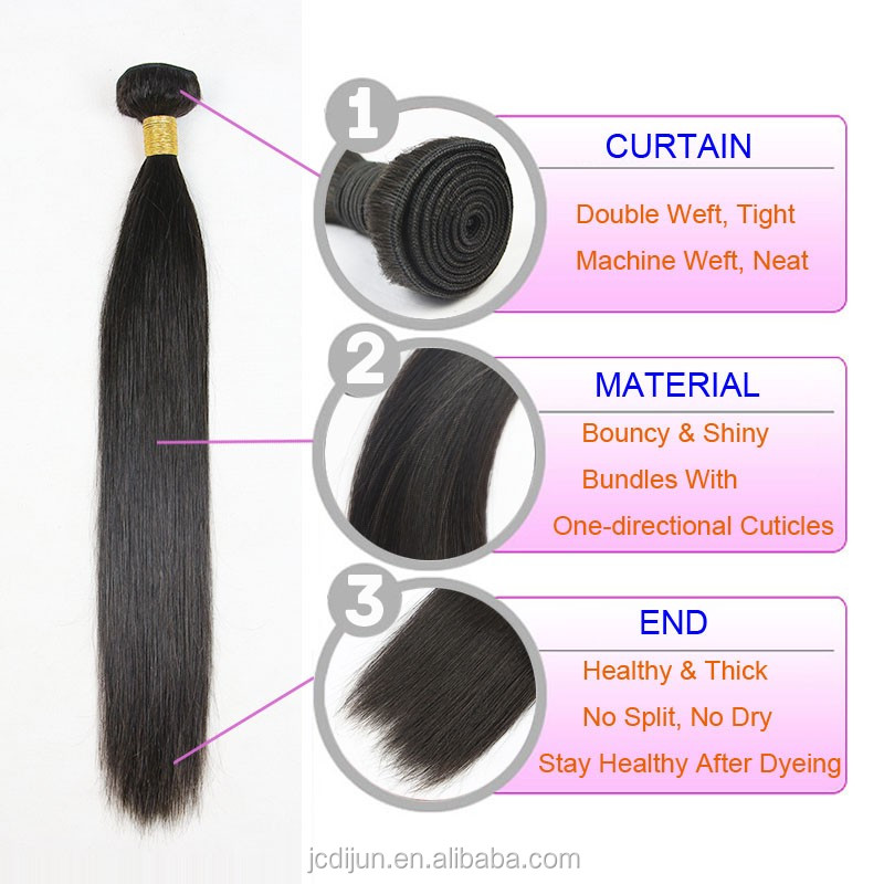 dijunhair Wholesale Silky Straight Hair, 100% Remy Virgin Brazilian Human Hair Extension