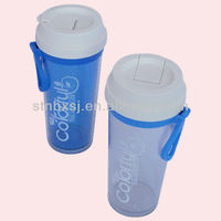 380ML Double Wall Plastic Cup Drink Water Bottle With Flip-open Cover