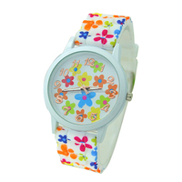 full printed PVC strap watch cheap customized logo plastic PVC strap watches women custom logo swatchful cream dial PVC watches