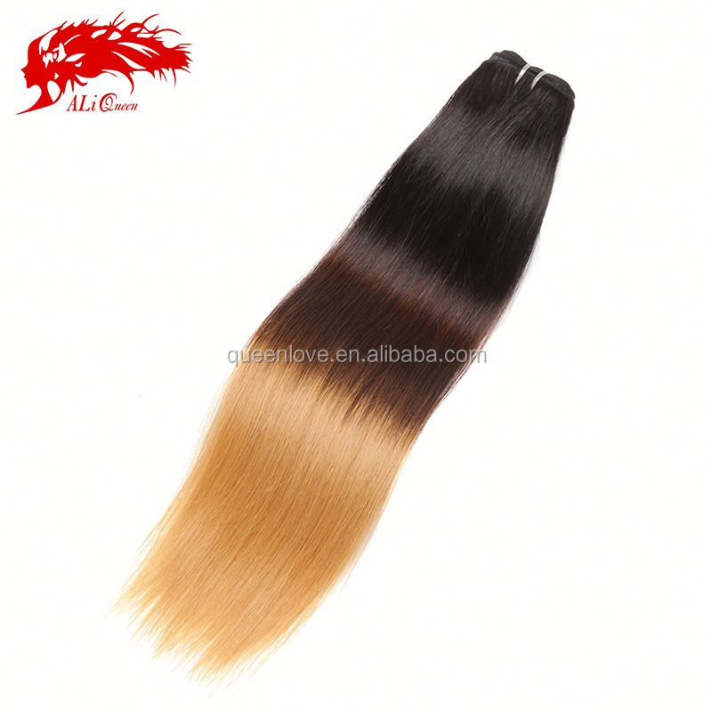2014 Wholesale Ali queen Hair Products silk straight 100% high quality great length Qingdao human hair ombre