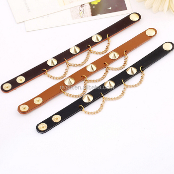 PK0569 Gold Studs Plain leather bracelet Women bracelet hand chain for men