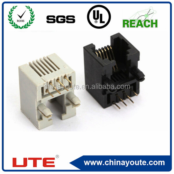 6P6C RJ11 female connector 90 degree pcb modular jack