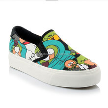 ladies fashion shoes china women flat cartoon canvas shoes