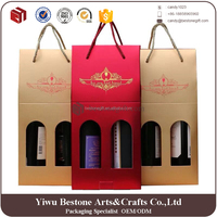 Cheap custom durable 2 pack corrugated cardboard wine bottle carrier,cardboard wine packaging box