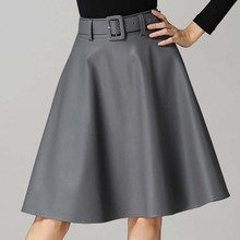 W11194 European popular style plus size pu leather lady fashion dressy skirts with belts