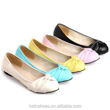 High quality cheap factory wholesale pu leather women shoes lady's flat ballet shoes with bowknot flat casual shoes with ruffle