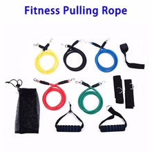 2017 New Arrival 11pcs/set 1.5m TPE Resistance Bands Fitness Pulling Ropes, Yoga Equipment Latex Exercise Band