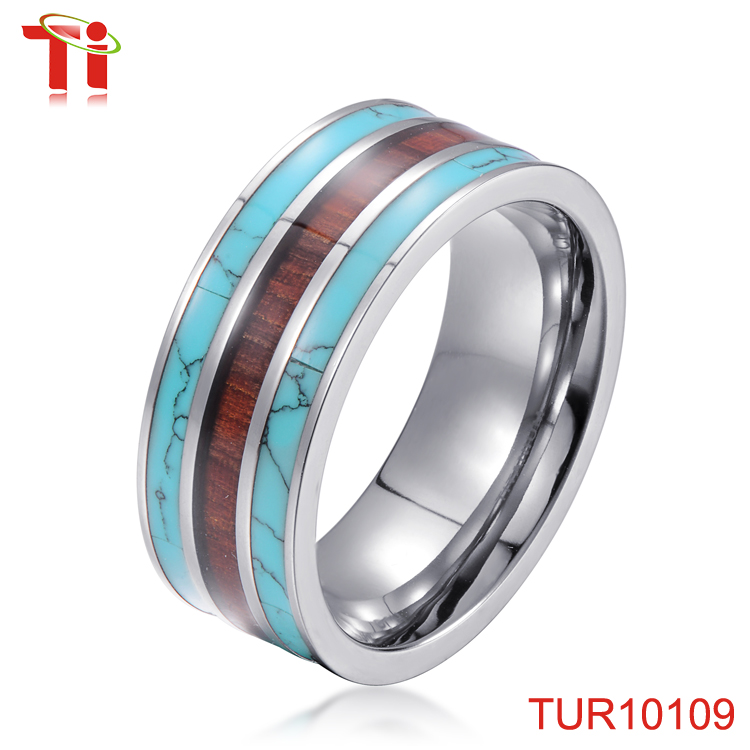 9mm koa wood and turquoise inlay fancy stone ring engagement ring philippines new women design antique gold finger ring for man