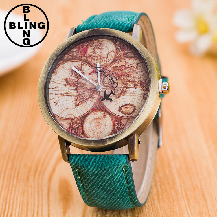 >>>2017 Women Dress Watches Fashion World Map Cowboy Denim Fabric Band Analog Quartz Wrist Watch/