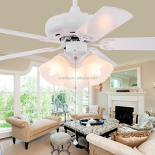 Pastoral style living room bedroom white remote control ceiling fan with lights
