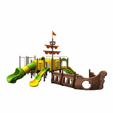 outdoor amusement park playground pirate ship themed plastic slides with fitness function design