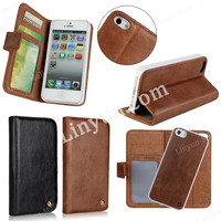 Most Luxury Genuine Leather Wallet Phone Case for iPhone 5/5s with Detachable Back Cover