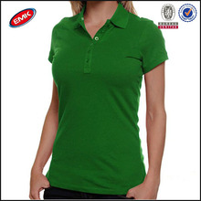 fresh green color young ladies slim fit polo shirt made in china
