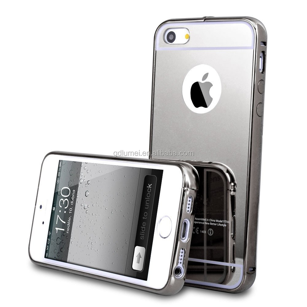Luxury ultra-slim mirror aluminum metal PC plastic frame bumper case cover For iPhone 5/ 5s, suit for many models