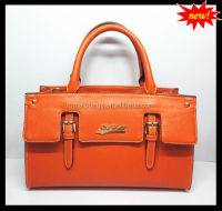High end fashion orange color structure cheap designer handbags