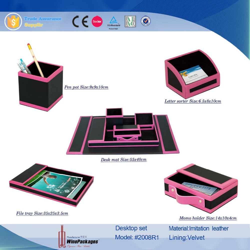 wholesale mini desk cheap leather stationery office sets