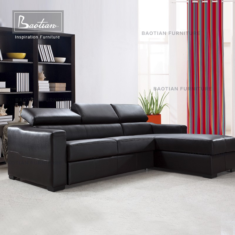 German Leather sofa bed with storage hotel sofa cum bed couch living room sofa