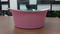 die cast aluminum korean soup pan/pink ceramic soup pot