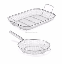 Mesh BBQ Grill Roasting Pan with Stainless Steel Mesh Fry Pan