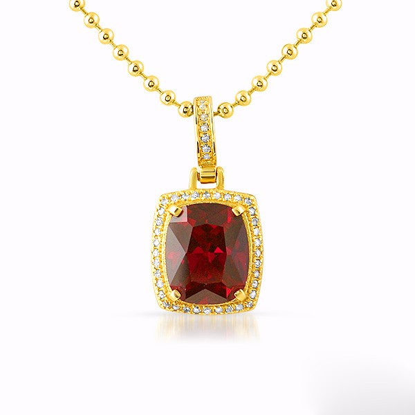 Hot Sale 925 Sterling Silver Necklace 18K Yellow Gold Plated Square Ruby Pendant with White CZ Ball Chain Ruby Necklace