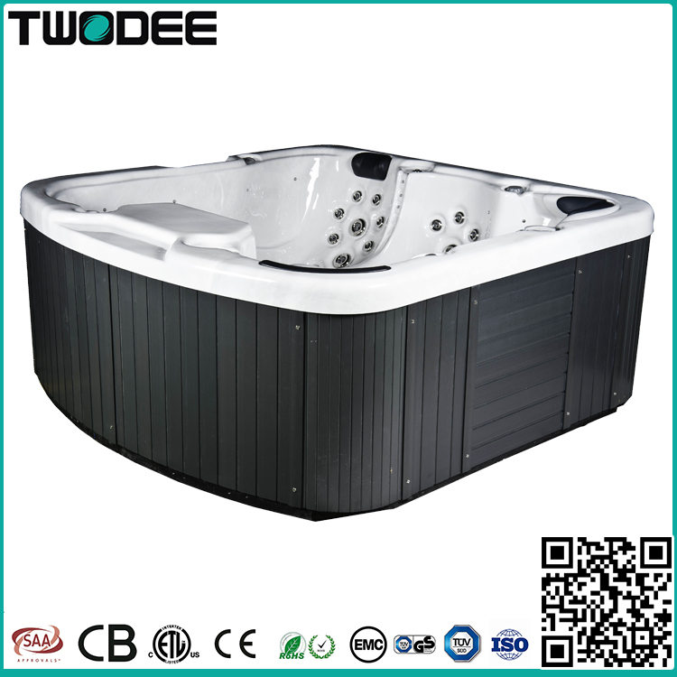 Factory price freestanding acrylic rectangular whirlpool outdoor spa 5 person balboa hot tub