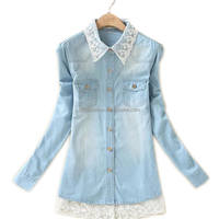 Denim Shirts Fashion Long Sleeve Lace