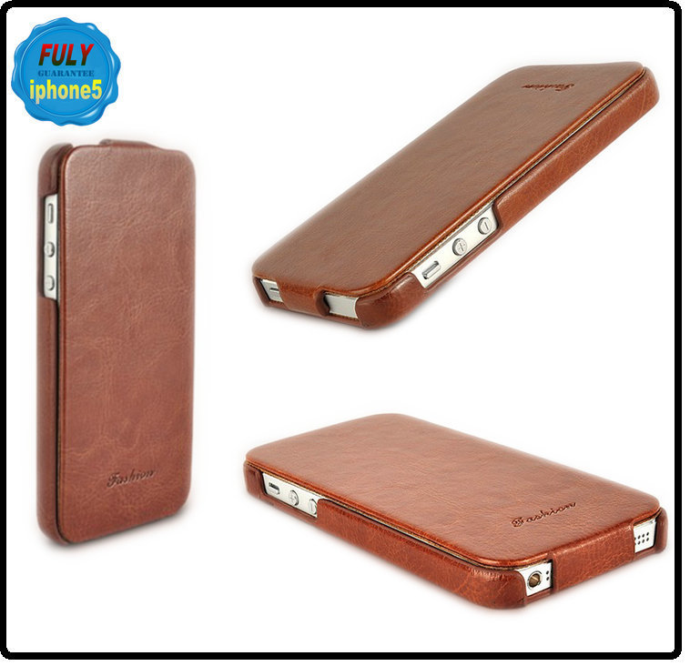 High quality Business style ultra thin flip leather case for iphone 5 5S 4 4s