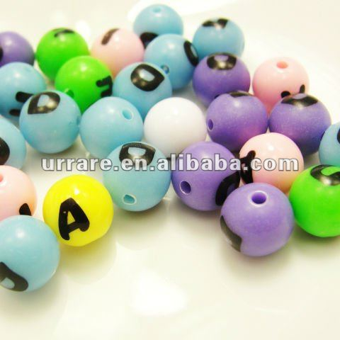 10mm Acrylic Round Beads with Letters