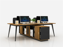 Guoxun Open Office 4 seats Acrylic Workstation Commercial furniture Staff desk with cabinet