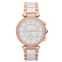 Custom brand Two Tone Stainless Pink Dial Chronograph ladies Watch