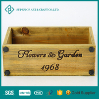 Wholesale Fashionable Unique Decorated Garden Wooden Flower Storage Crate Box for Home