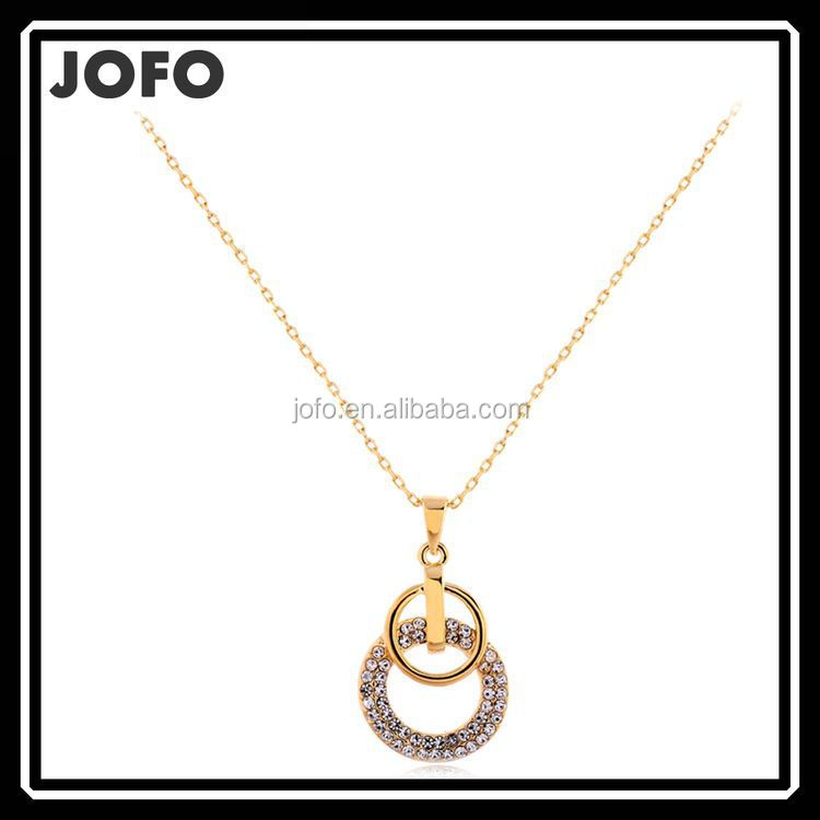 Top Quality 14K Real Gold Plated Double Circle Pendant Elegant Necklaces & Pendants Fashion Necklaces For Women OL Style Joyas