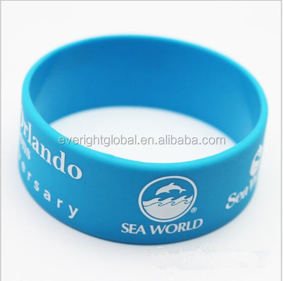 "F12601 Custom eco-friendly silicone bracelet/band with logo debossed at 1"" width"