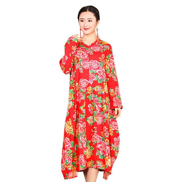 Cotton Printed Fabric Long Summer Dress For Women