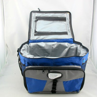 eco-friendly insulated cooler bag, picnic bag,lunch bag in black with royal blue